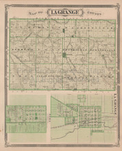 LaGrange Elkhart County Indiana Vintage Map Baskin 1876