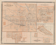South Bend Mishawaka Indiana Vintage Map Baskin 1876