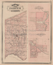 Porter Lake County Indiana Vintage Map Baskin 1876