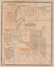 Valparaiso Michigan City Indiana Vintage Map Baskin 1876