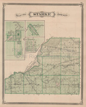 Marshall Starke County Indiana Vintage Map Baskin 1876