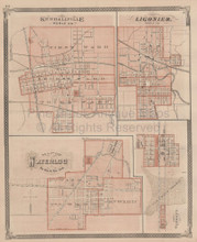Kendallville Waterloo Ligonier Indiana Vintage Map Baskin 1876