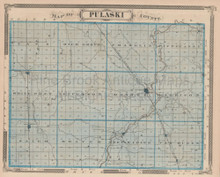 Pulaski County Indiana Vintage Map Baskin 1876