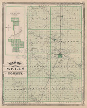Wells Adams County Indiana Vintage Map Baskin 1876
