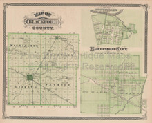 Blackford County Camden Dunkirk Indiana Vintage Map Baskin 1876