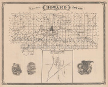 Howard County Marion Kokomo Indiana Vintage Map Baskin 1876