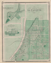 La Fayette Indiana Vintage Map Baskin 1876