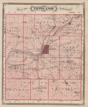 Tippecanoe Benton County Indiana Vintage Map Baskin 1876