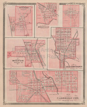 Cambridge Milton Ridgeville Indiana Vintage Map Baskin 1876