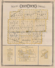 Muncie Hancock County Indiana Vintage Map Baskin 1876