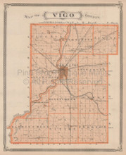 Vigo Clay County Indiana Vintage Map Baskin 1876