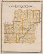 Owen County Brazil Spencer Indiana Vintage Map Baskin 1876