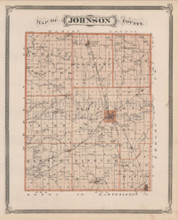 Johnson County Franklin Greenwood Indiana Vintage Map Baskin 1876