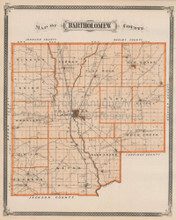 Bartholomew County Greenburg Hope Indiana Vintage Map Baskin 1876