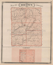 Brown Monroe County Indiana Vintage Map Baskin 1876