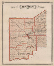Jennings County Indiana Vintage Map Baskin 1876
