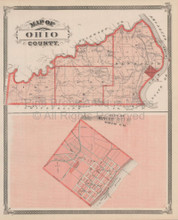 Ohio County Versailles Indiana Vintage Map Baskin 1876