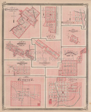 Charlestown Greenville Salem Indiana Vintage Map Baskin 1876