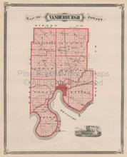 Vanderburgh County Indiana Vintage Map Baskin 1876