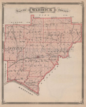 Warrick Spencer County Indiana Vintage Map Baskin 1876