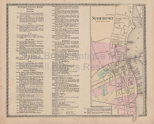Newburyport Massachusetts Vintage Map Beers 1872