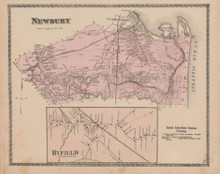 Newbury Byfield Massachusetts Vintage Map Beers 1872