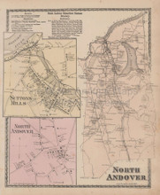 North Andover Massachusetts Vintage Map Beers 1872