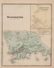 Manchester Beverly Farms Massachusetts Vintage Map Beers 1872