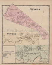 Wenham Cove Village Massachusetts Vintage Map Beers 1872
