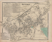 Beverly Massachusetts Vintage Map Beers 1872