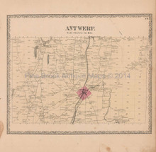 Antwerp New York Vintage Map Beers 1864