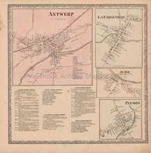 Lafargeville Oxbow Plessis New York Vintage Map Beers 1864