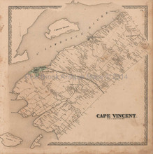 Cape Vincent Carlton Island New York Vintage Map Beers 1864