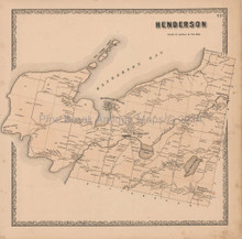 Henderson Six Town Point New York Vintage Map Beers 1864