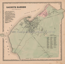 Sackets Harbor New York Vintage Map Beers 1864
