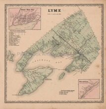 Lyme Chaumont Bay New York Vintage Map Beers 1864