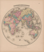 Eastern Hemisphere Vintage Map Colton 1856