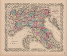 Northern Italy Vintage Map Colton 1856