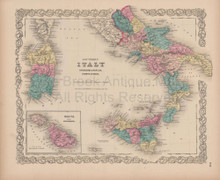 Southern Italy Vintage Map Colton 1856