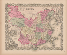 China Vintage Map Colton 1856