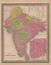 British India Vintage Map Mitchell 1847