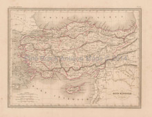 Ancient Asia Minor Antique Map Malte Brun 1850