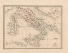 Ancient Italy Antique Map Malte Brun 1850
