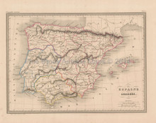 Ancient Spain Antique Map Malte Brun 1850