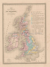 United Kingdom Physical Antique Map Malte Brun 1850