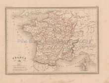France in 1789 Antique Map Malte Brun 1850