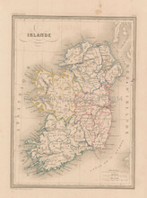 Ireland Antique Map Malte Brun 1850