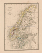 Sweden Norway Antique Map Malte Brun 1850