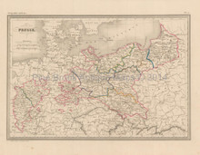 Prussia Antique Map Malte Brun 1850