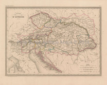 Austrian Empire Antique Map Malte Brun 1850